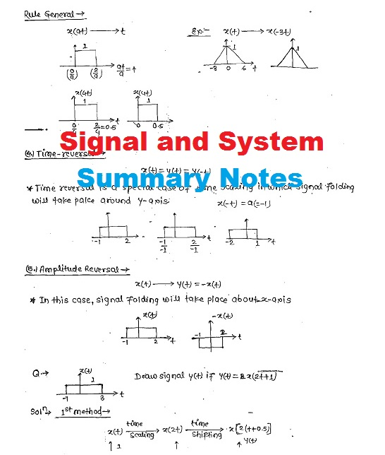 Pdf Signal And System Summary Handwritten Notes