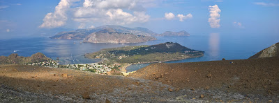 View north from the Gran Crater with Salina, Lipari, and Stromboli visible.