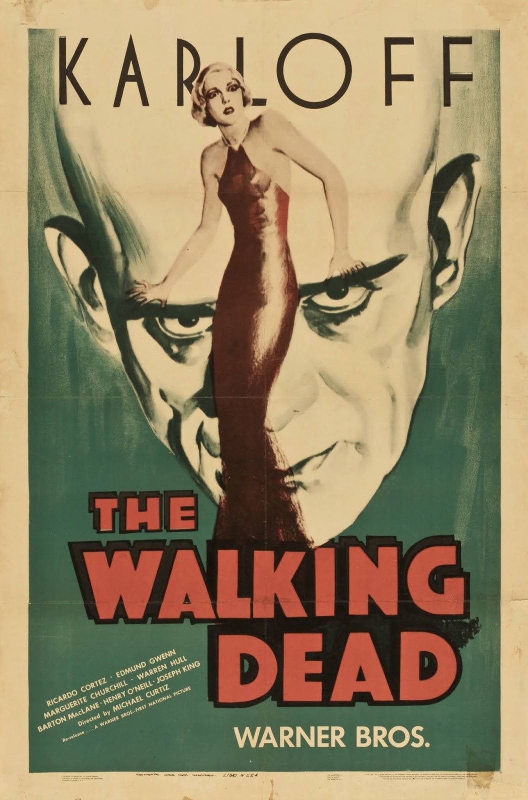 'Karloff' in big letters above poster art of woman in front of Boris Karloff's looming face with 'The Walking Dead' at bottom
