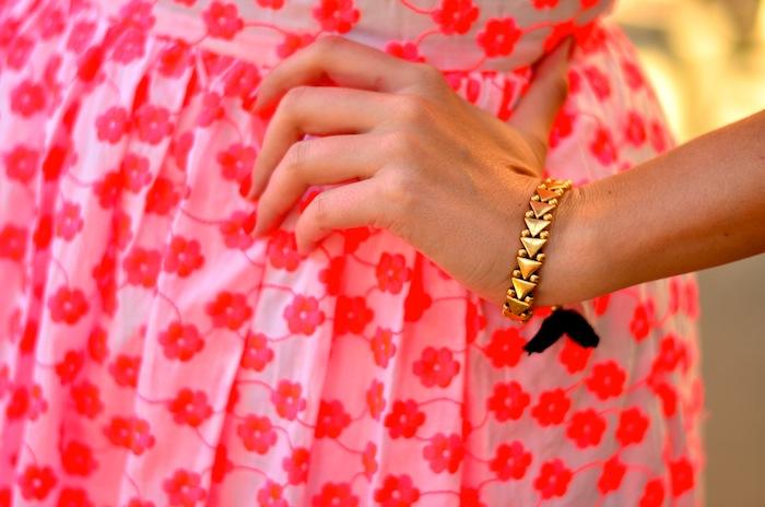 Pink Embroidered floral racer dress J Crew