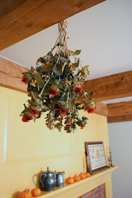 dried flowers on beams