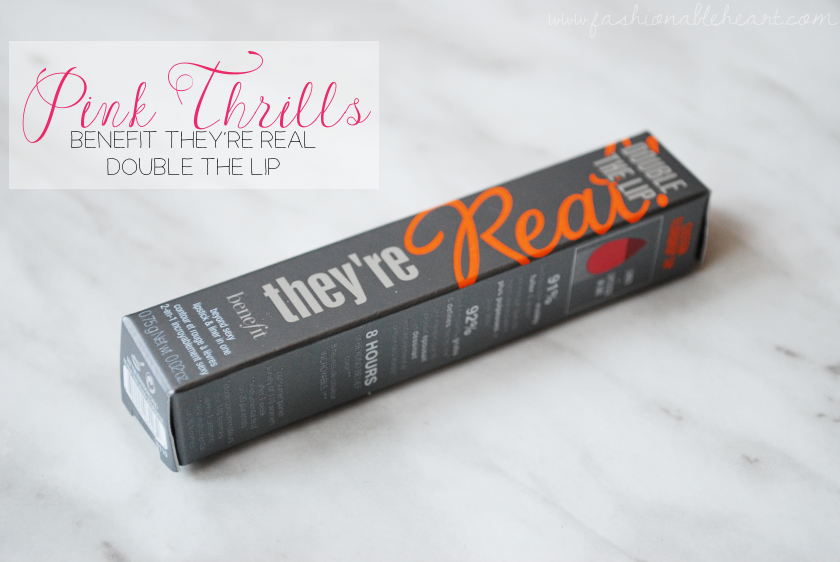 bbloggers, bbloggersca, canadian beauty bloggers, beauty blogger, benefit cosmetics, they're real double the lip, lip liner, lipstick, pink thrills, sephora, sephora canada, product review, swatches, hand swatch, lips, topbox, sample, travel size