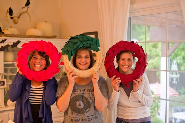 Felt leaf wreath tutorial