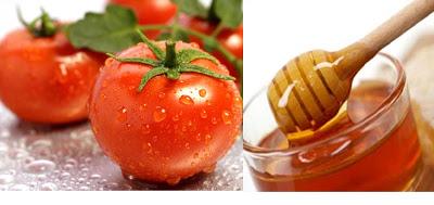 Tẩy trắng da bằng mật ong + cà chua + chanh