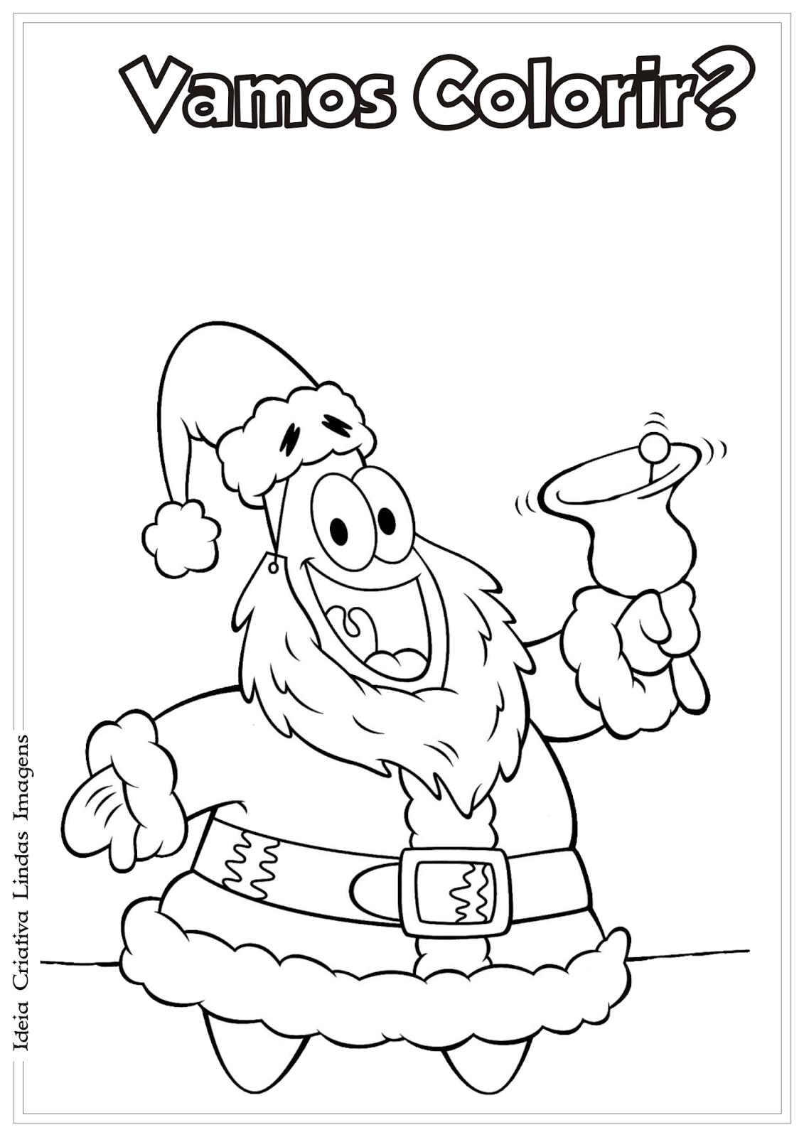 Bob Esponja De Natal Desenho Para Colorir