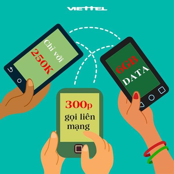 Đăng ký gói V250 Viettel với ưu đãi 2 trong 1: gọi liên mạng, 3G