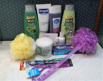Hygiene products won in a giveaway.