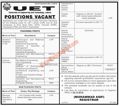 (UET) University Of Engineering & Technology Lahore Jobs 2018