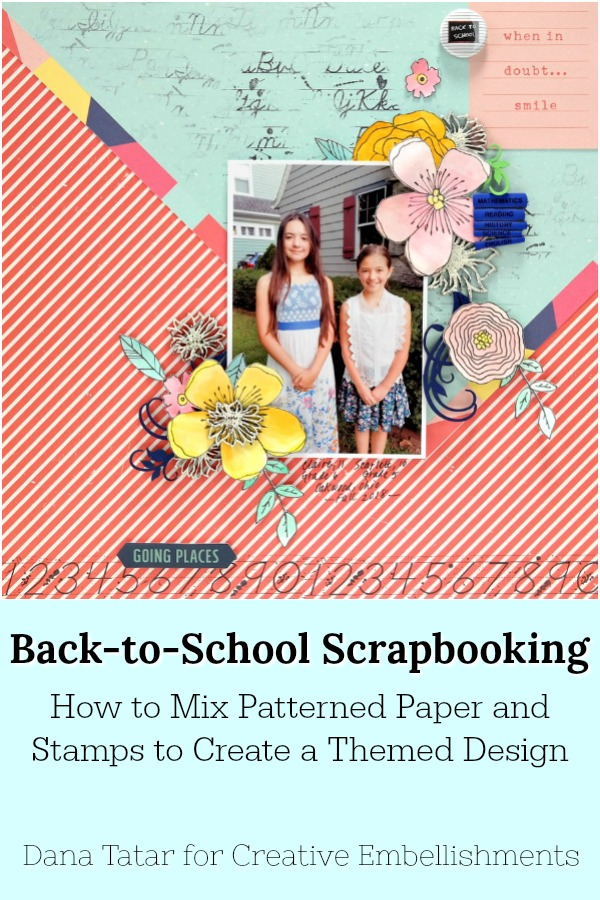 How to Mix Patterned Paper and Stamps to Create a Themed Design for a Back To School Layout