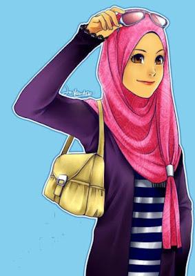 gambar kartun muslimah remaja cantik memakai jilbab merah