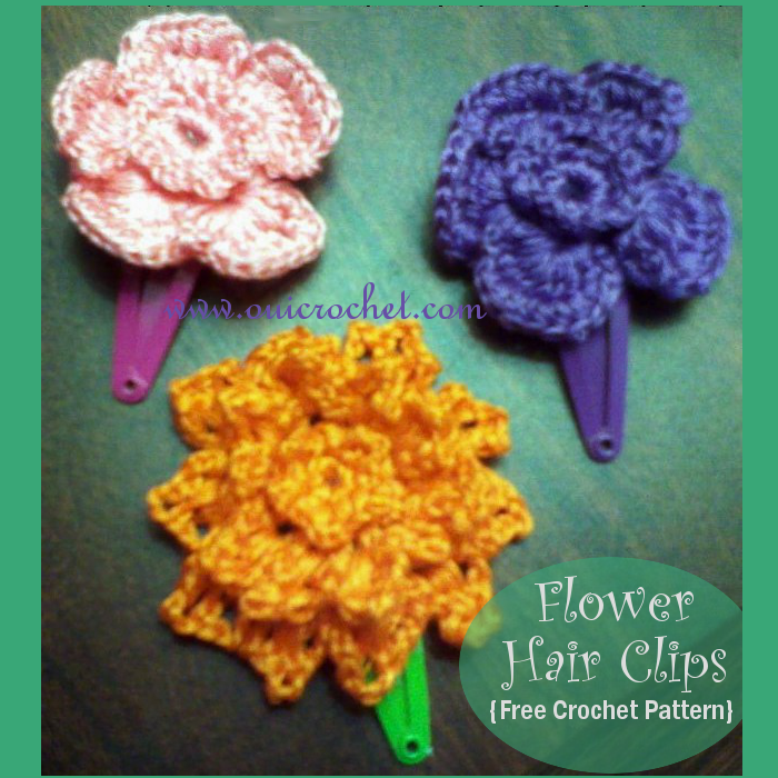Crochet, Free Crochet Pattern, Crochet Flowers, Crochet Hair Clips, Crochet Hair Accessories, Crochet With Embroidery Thread, Embroidery Thread Flowers,
