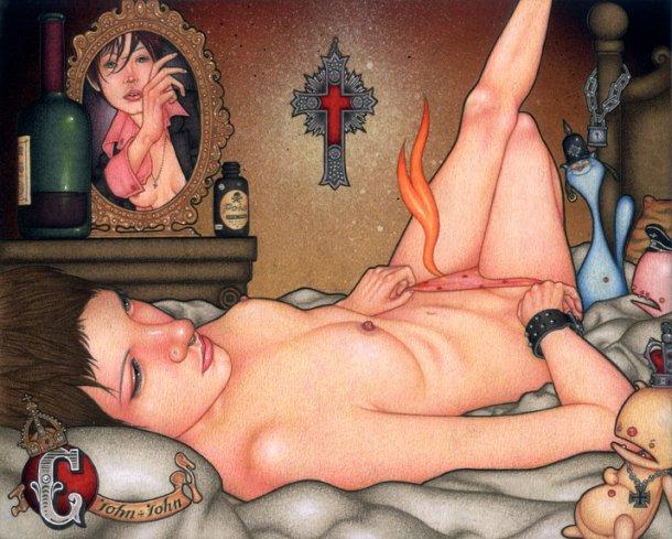 John John Jesse pinturas pin up girls garotas punk nsfw surreais peitos sensuais provocantes eróticas