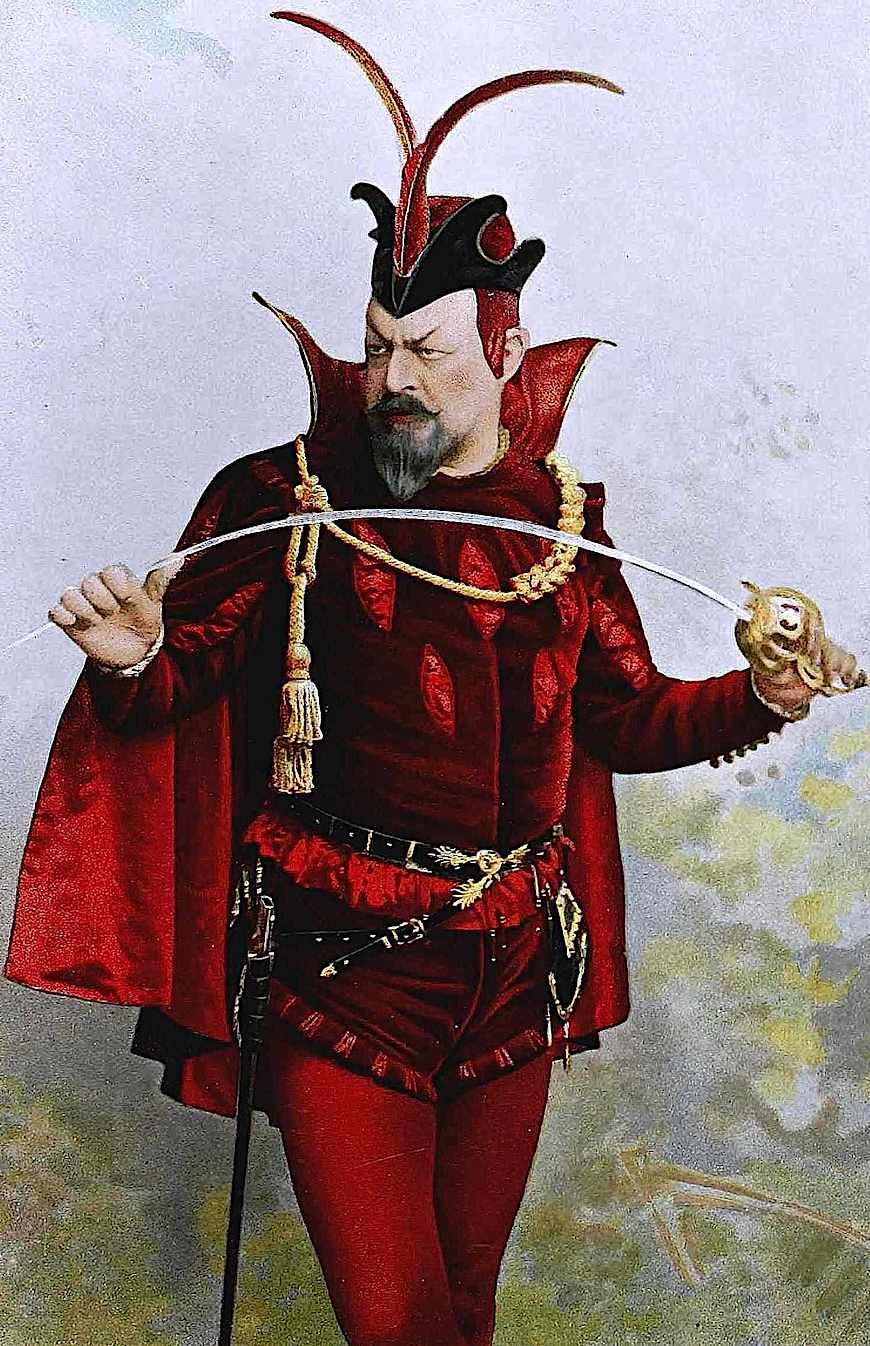 an 1895 stage actor in red velvet