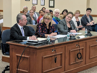 Rep Roy, Senator Spilka, and Senator Rausch at the Town Council meeting May 8, 2019