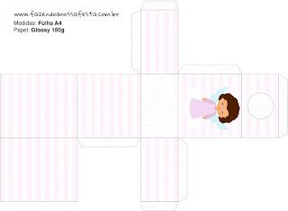 Brunette Angel Girl, Free Printable Box.