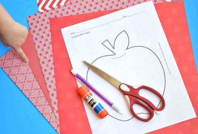 Paper weaving apples- fine motor craft for fall. Fun for preschool, kindergarten, or elementary, Bright and colorful activity for back to school!