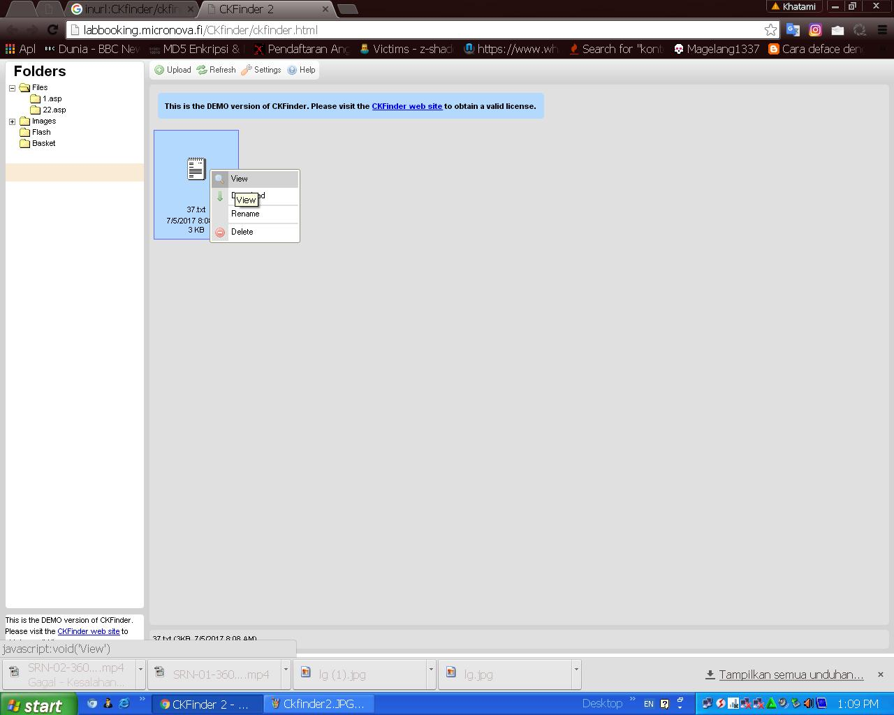 Deface dengan Metode CKFinder File Upload Vulnerability