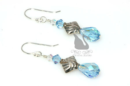 March Birthstone Earrings: Aquamarine Crystal Teardrop Earrings (EBC102)