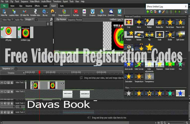 It is very heartbreaking to finish your video project on VideoPad and you can't save it in an mp4 format or any format you like.    In view of this Davas Book Has compiled some VideoPad 4.24 registration codes that will help you through.    VideoPad comes with different versions but we are providing registration codes for version 6.24 as indicated in the title.    You can download the software from here if you have it but if you already have it, don't waste any time further.    Copy any of these codes and register your VideoPad with it.    11268491-KLBFCLIE  11678787-YWPYCLLO