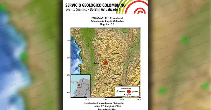 Temblor en Colombia de Magnitud 5.0 (Hoy Miércoles 1 Abril 2020) Terremoto - Sismo - Epicentro - Betania - Antioquia - En Vivo Twitter - Facebook - www.sgc.gov.co