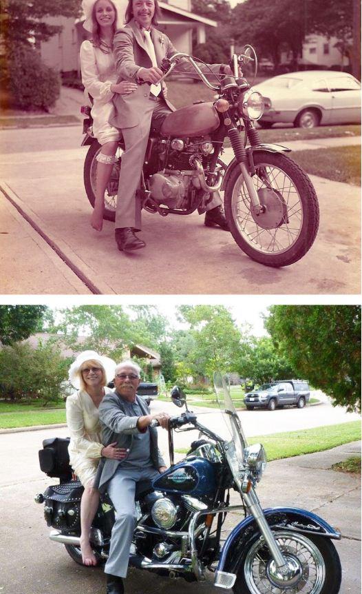 زوجان اخران يحتفلان بالذكرى الـ40 بطريقتهما الخاصة باعادة صور زفافهما من عام 1975