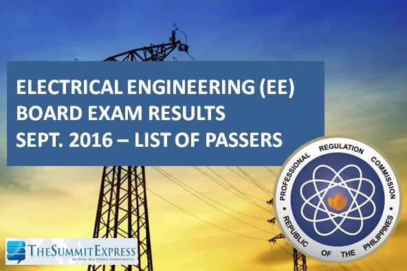 September 2016 Electrical Engineer REE, RME board exam results