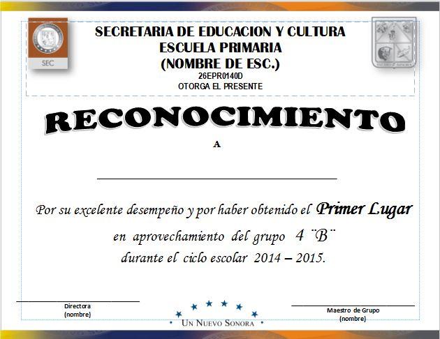 Diploma para Primeros Lugares de Aprovechamiento Escolar ~ DIPLOMAS