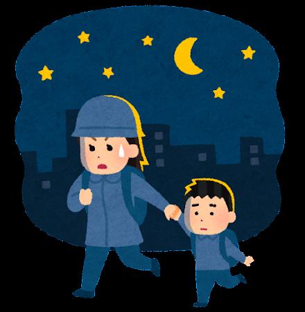 夜逃げのイラスト(母子)
