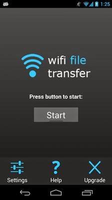 halaman muka WiFi File Transfer