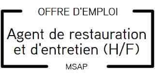 Offre d'emploi - Agent d'entretien et de restauration (H/F)