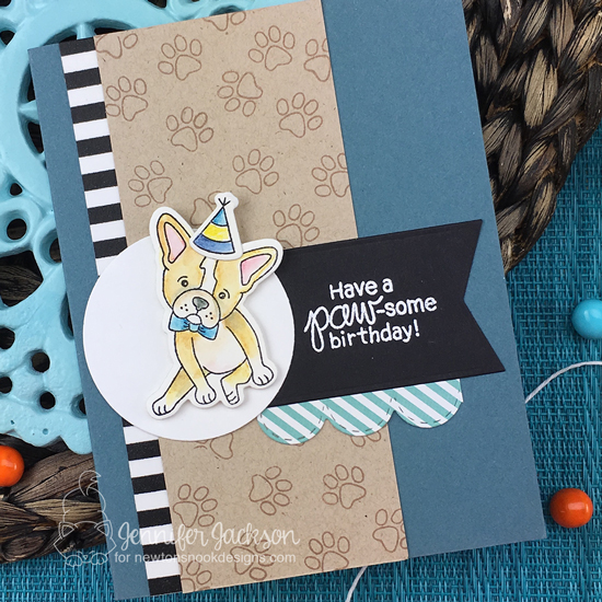 Paw-some Birthday card by Jennifer Jackson | Fabulous Frenchies Stamp Set by Newton's Nook Designs #newtonsnook #handmade