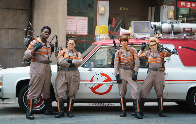"Leslie Jones, Melissa McCarthy, Kristen Wiig, and Kate McKinnon in ""Ghostbusters"""