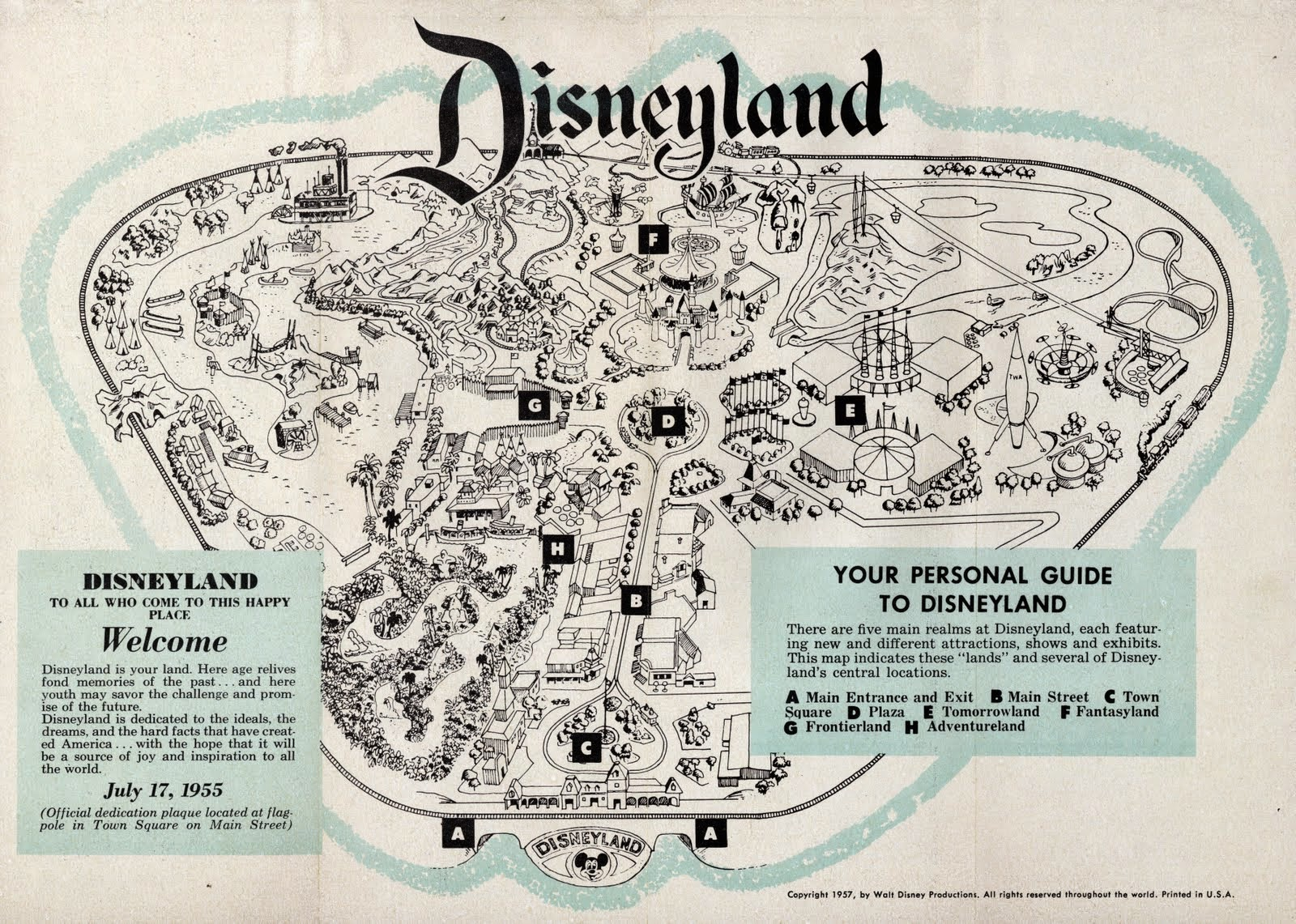 Disney Avenue Disneyland Map Evolution - 18 amazing rare colour photos disneyland 1955