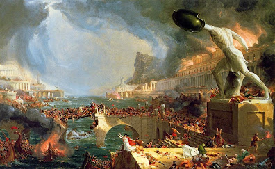 The Course of Empire: Destruction.   Thomas Cole. Oil on canvas, 1836, 39 ½ x 63 ½ in.   Collection of The New-York Historical Society, 1858.