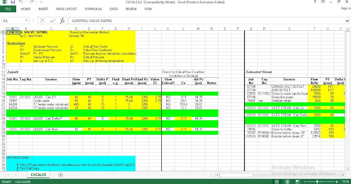 Control Valve Sizing Excel Worksheet Download Free