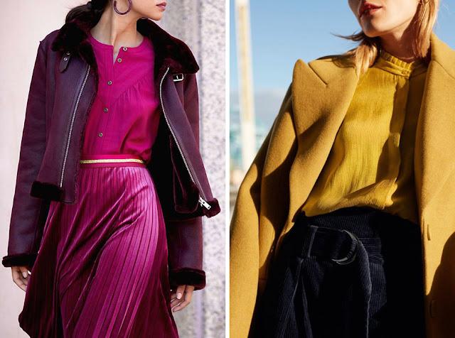 Монохромные образы с фиолетовой дубленкой и с желтым пальто