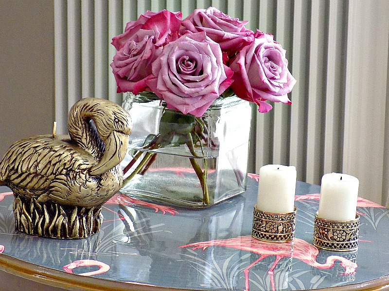 DIY flamingo wallpapered table