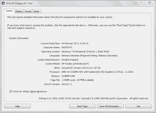 Tutorial cara mengertahui spesifikasi laptop / PC pada Windows7