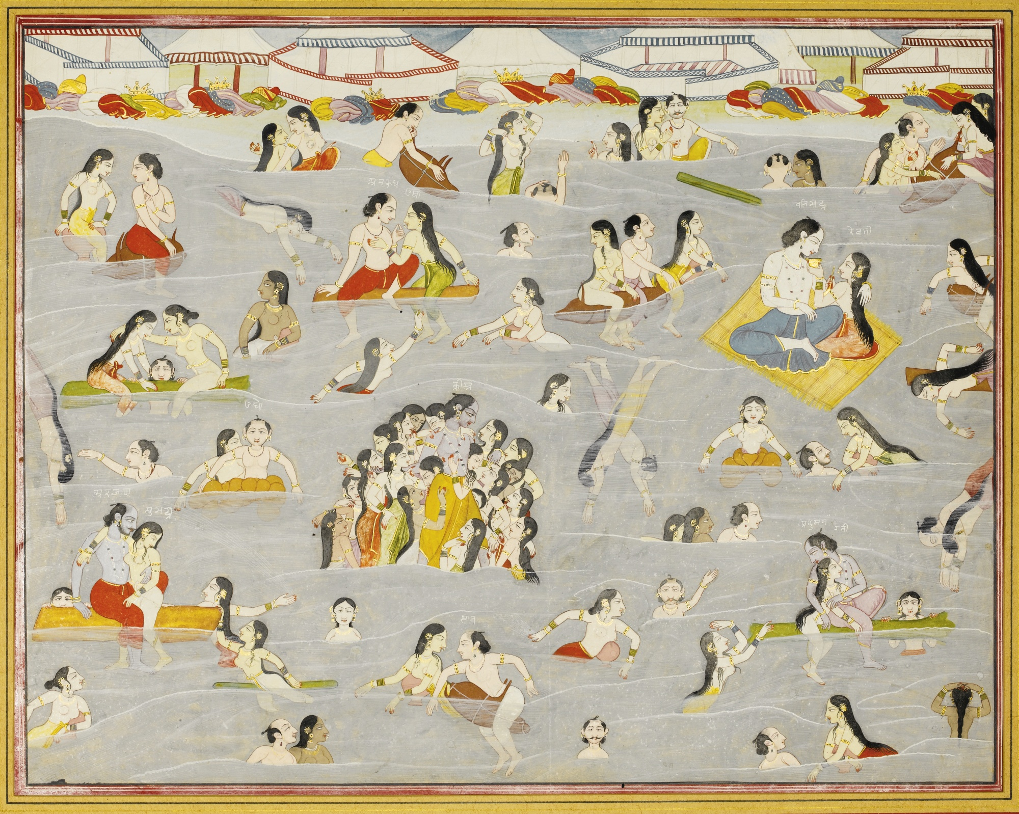 Krishna and the Gopis Bathing in the River Yamuna, Illustration from a Harivamsa series, attributable to Purkhu - Kangra Painting, circa 1800-15
