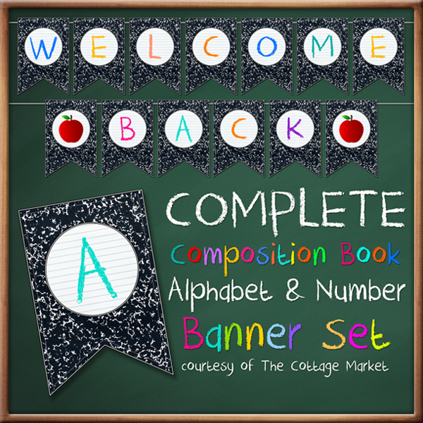 Free Back To School Banner Bunting Full Alphabet Number Set The Cottage Market