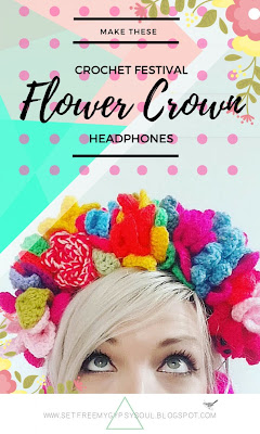 Enjoy festival feels and sounds with these adorable Boho chic Floral Crown headphones made using double crochet, treble crochet and chains.