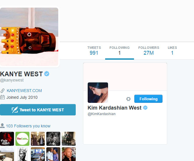 Despite having millions of followers, Kanye West is following only one person on Twitter
