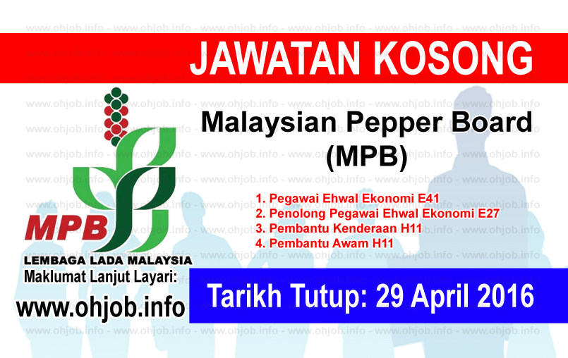Jawatan Kerja Kosong Malaysian Pepper Board (MPB) logo www.ohjob.info april 2016