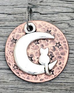 Cat ID Tag - Cat on the Moon - Customizable from Etsy