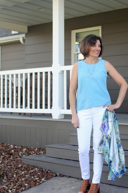 Grainline Studio's Hadley Tank made with Style Maker Fabric's Modal Shirting