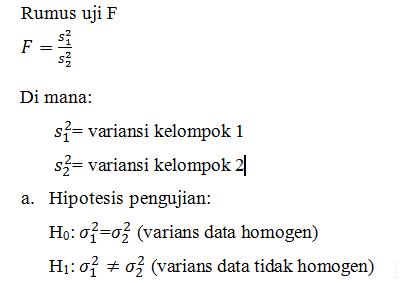 Uji Homogenitas Dengan Uji F Statistika