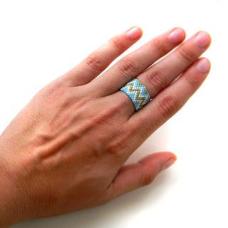 beaded ring beadwork beadwoven ring peyote jewelry anabel27