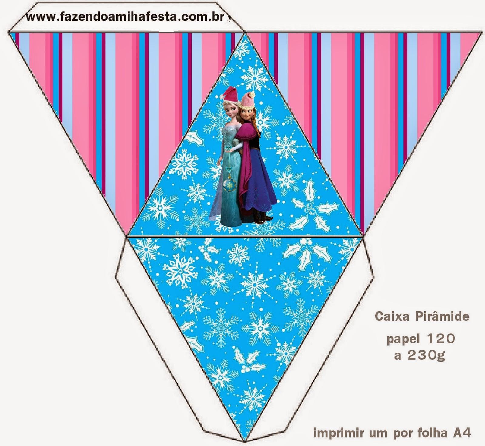 Caja con forma de pirámide de Frozen para Navidad.