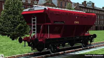 Fastline Simulation: An EWS liveried and branded CEA is seen shortly after repainting from the side containing the sheet fixings.