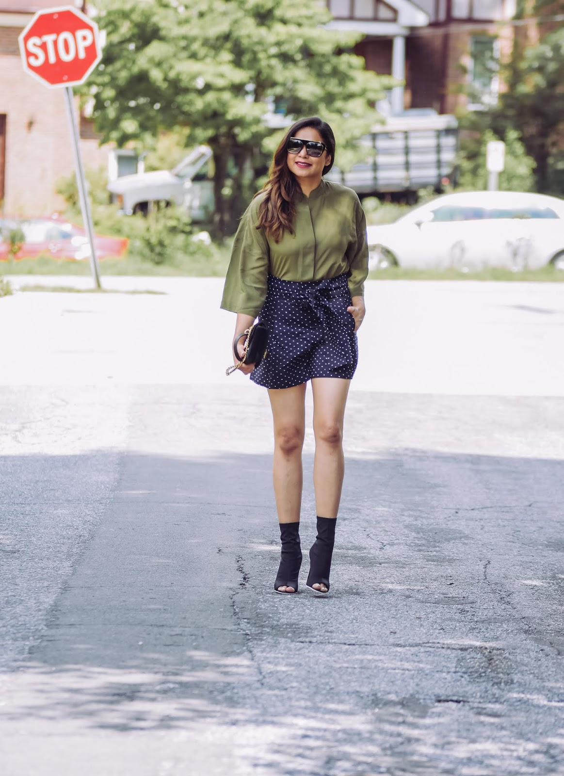 shorts and silk blouse, black high waisted j crew shorts, polka dot shorts, olive green silk blouse, street style, dc blogger, statement sunglasses, july fourth outfit, myriad musings